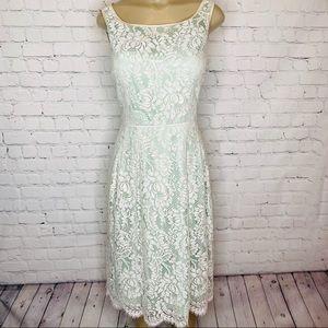 Elie Tahari  Green & White Lace Sleeveless Dress